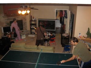 Ping pong is always better with a background of Rock Band