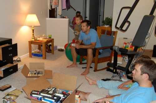 Cluttered chaos as we unloaded the old entertainment center
