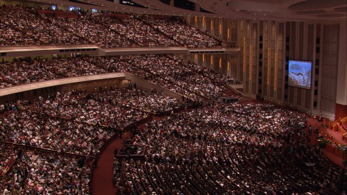 The Conference Center in Salt Lake City, Utah during a session of General Conference