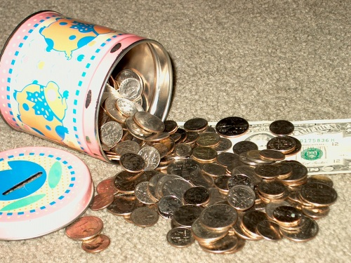 current contents of the piggy bank that lives under the bed