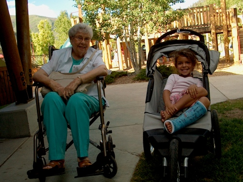 Grandma and Katie sporting their rides