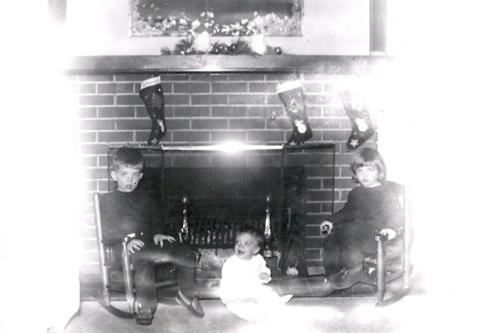 David - Lynnette - Yvonne -- Christmas, 1954