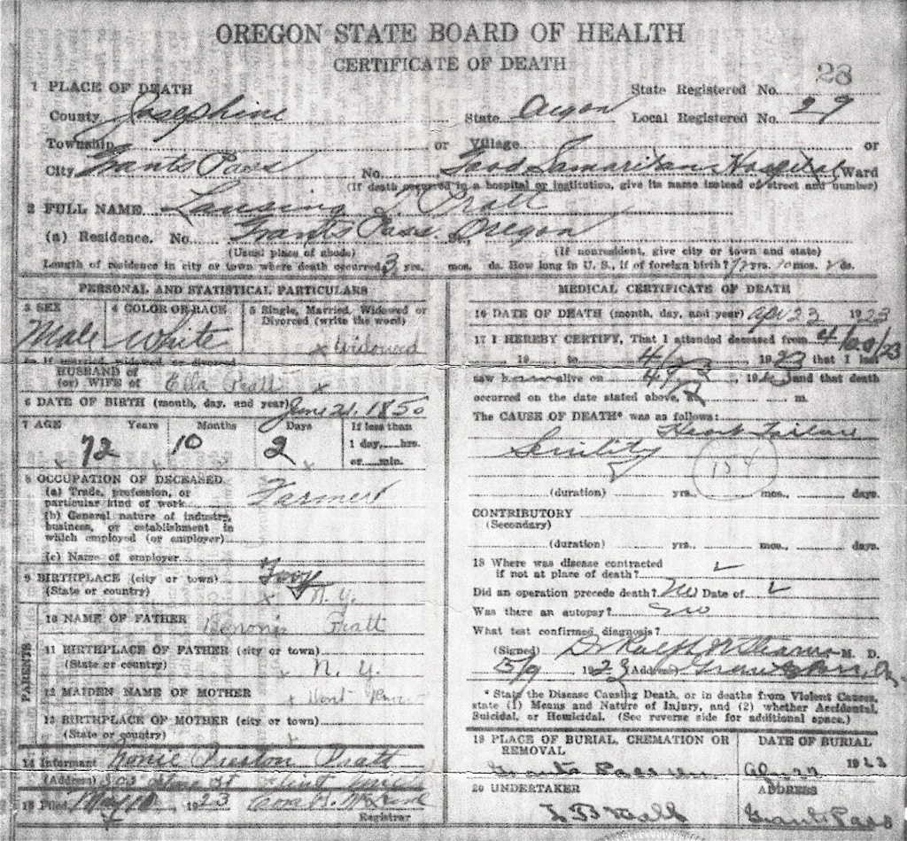 Death Certificate for Lansing Taylor Pratt - died 23 April 1923