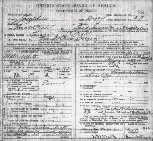 Death Certificate for Lansing Taylor Pratt - died 23 April 1923