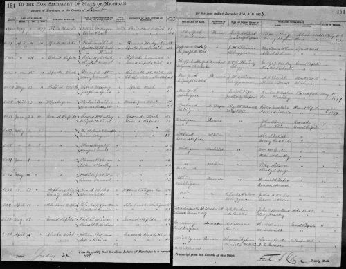 Marriage Record for Francis Compton & Mary DeVall