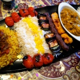 Rice, lamb, curry, kabob - all delicious