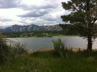The Stanley Hotel across Lake Estes